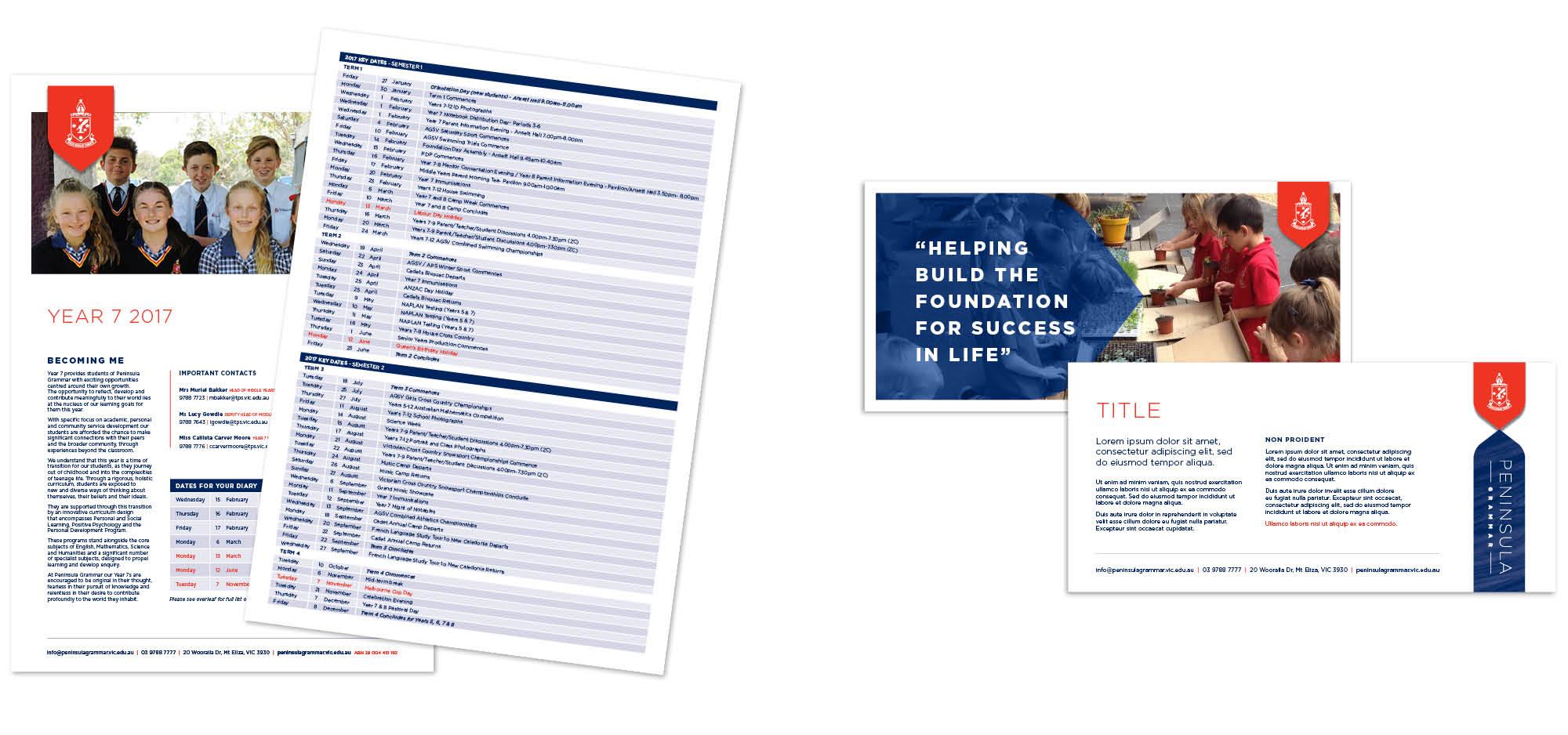 Peninsula Grammar Printed Brochures