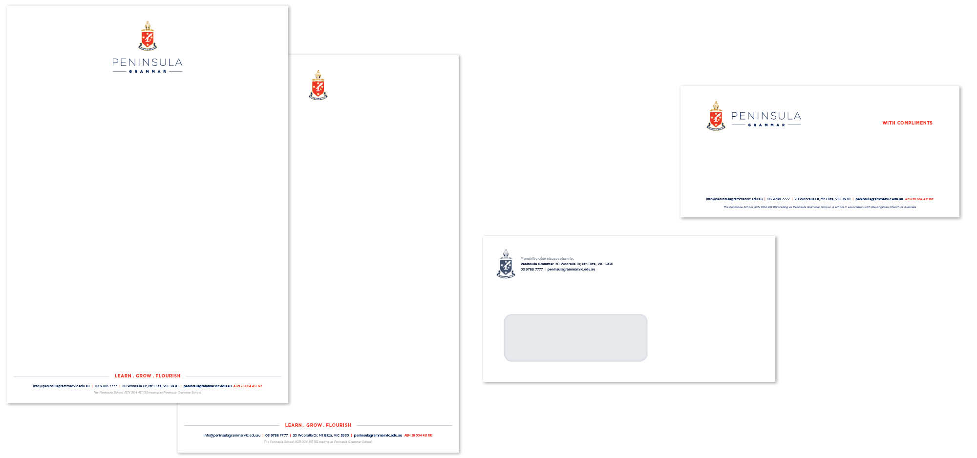 Letterhead design for Peninsula Grammar