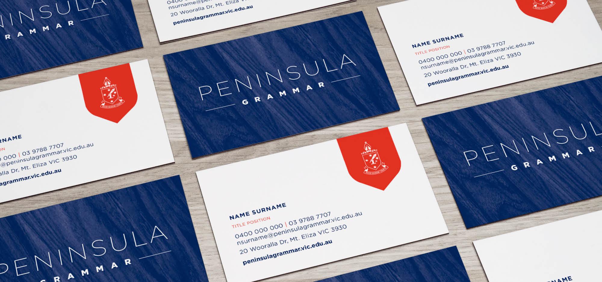 Peninsula Grammar Logo Design and Business Card